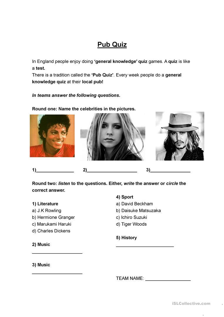 Pub Quiz worksheet - Free ESL printable worksheets made by teachers
