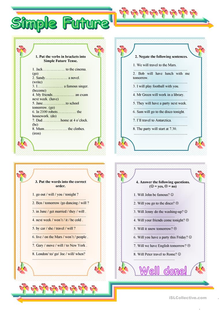Simple Future Tense - with key - English ESL Worksheets for ...