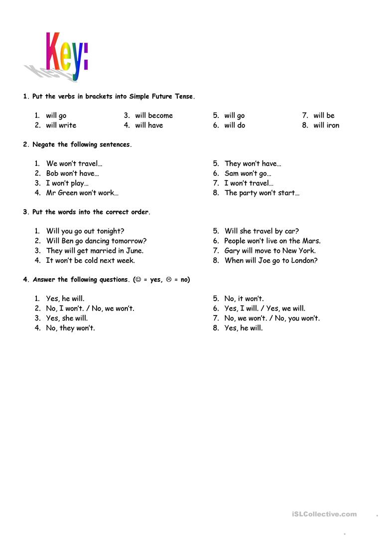Simple Future Tense - with key - English ESL Worksheets