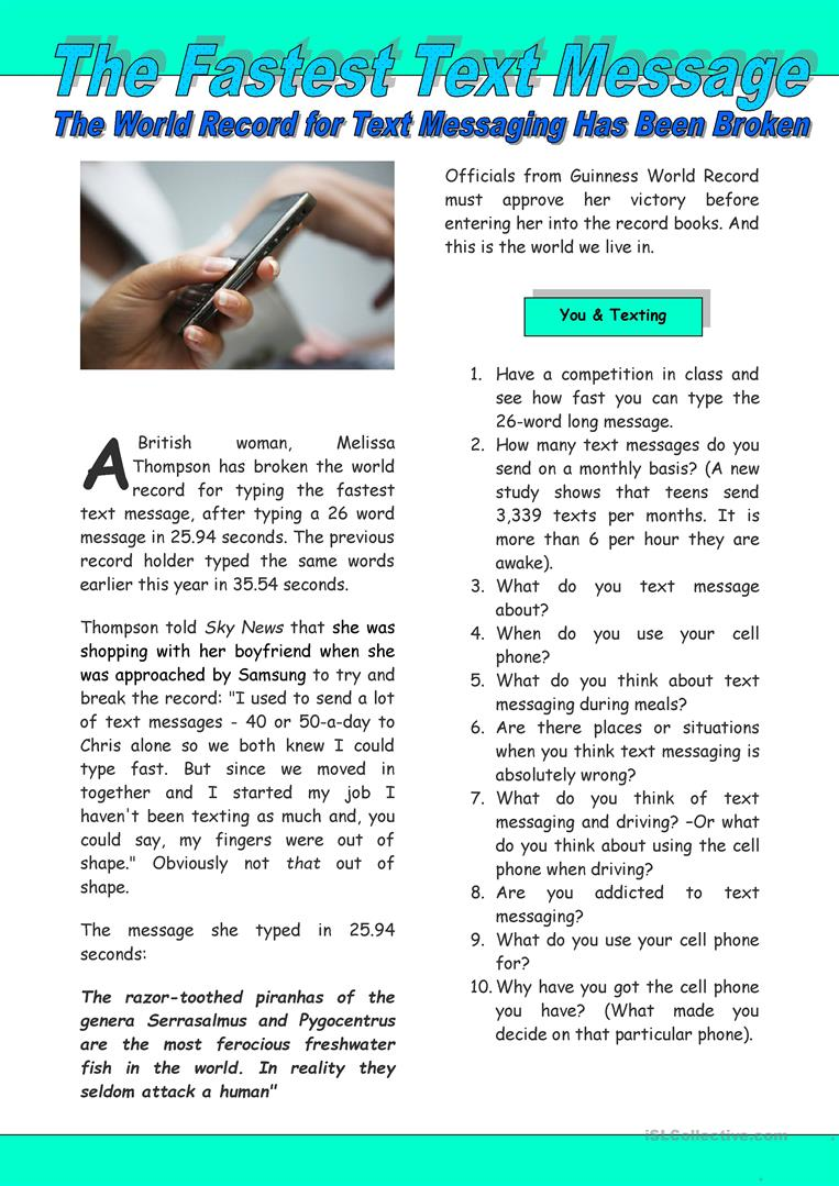 the fastest text message worksheet