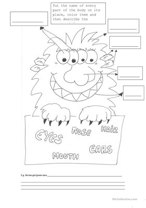 Monster body part activities worksheet - Free ESL printable ...
