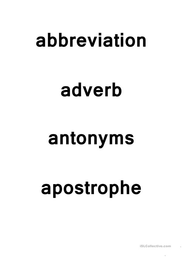 Academic Vocabulary Cards