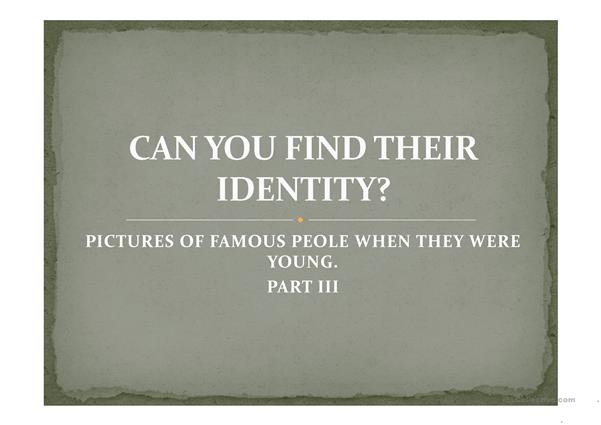 CAN YOU FIND THEIR IDENTITY? part 3