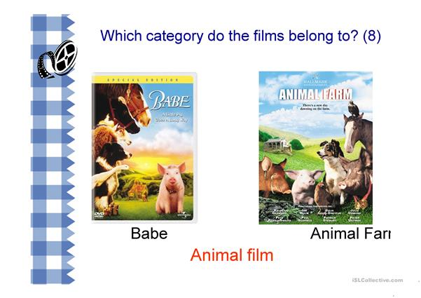 Film Categories with examples of films shown (16 slides)