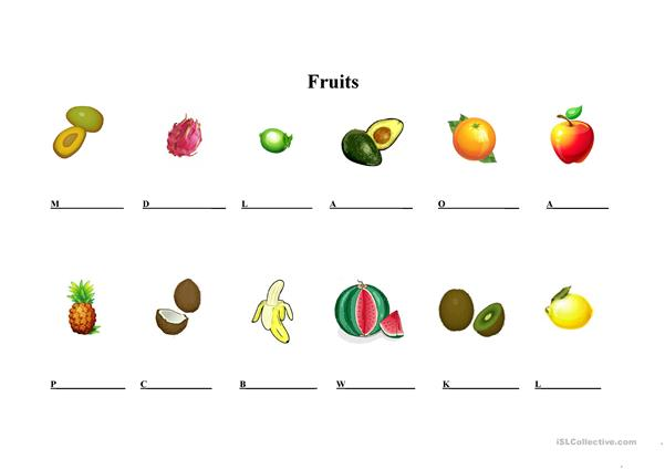 Fruits in southeast Asia worksheet