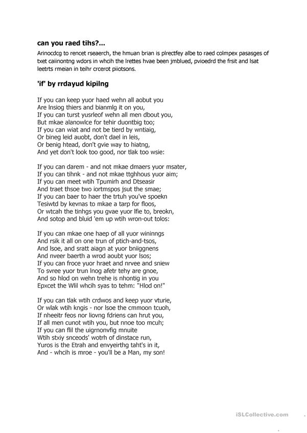 photo about If by Rudyard Kipling Printable named If via Rudyard Kipling - English ESL Worksheets