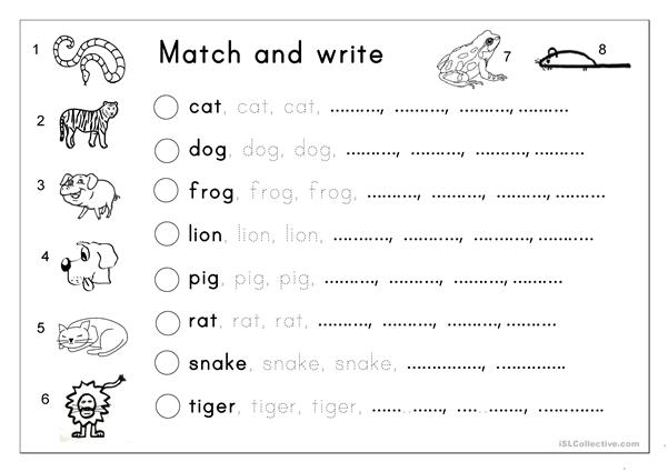 Matching, Letter tracing, Writing - Animals