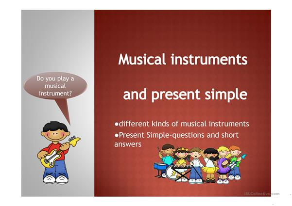 Musical Instruments and Present Simple ppt