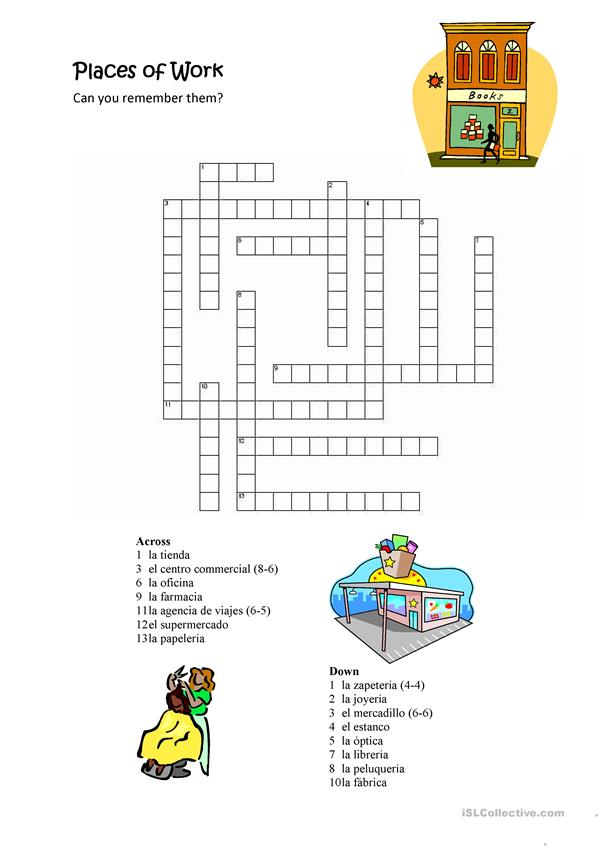Places of Work Crossword