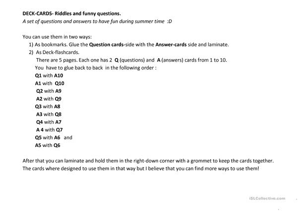 Riddles deck cards 1/2