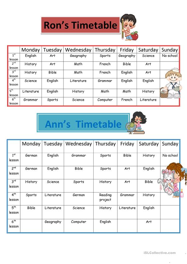 Ron's and Ann's timetables