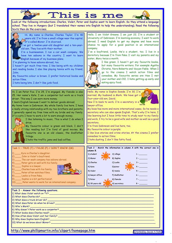 This is me Part 1 *** Reading comprehension for adults *** elementary level *** with key *** fully editable