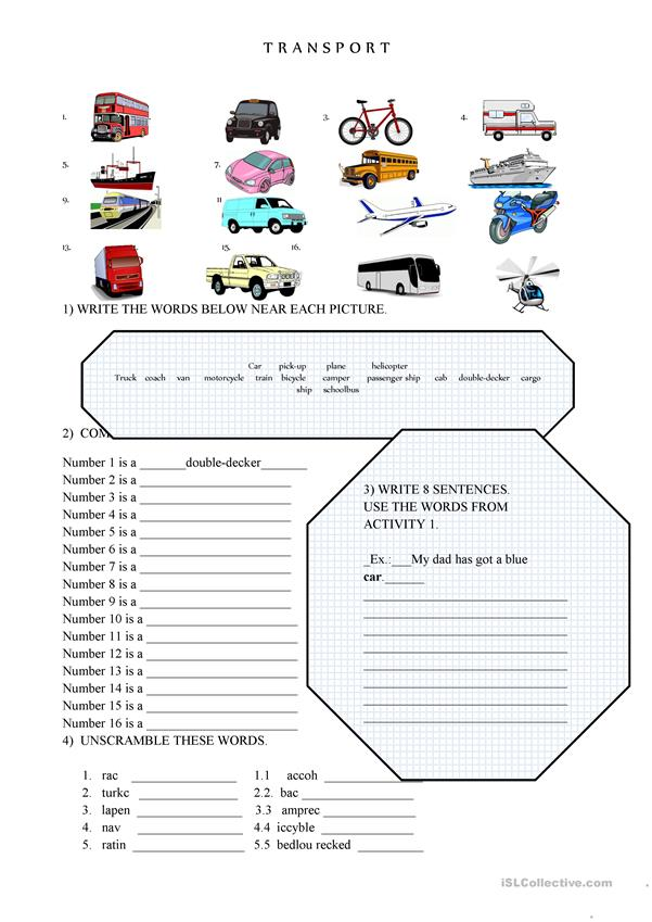 TRANSPORT WORKSHEET