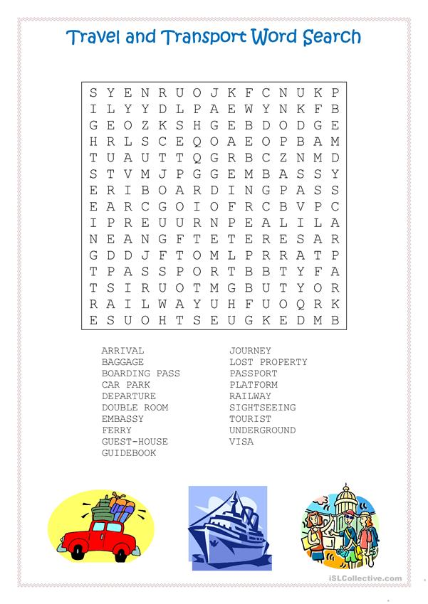 Travel and Transport Word Search