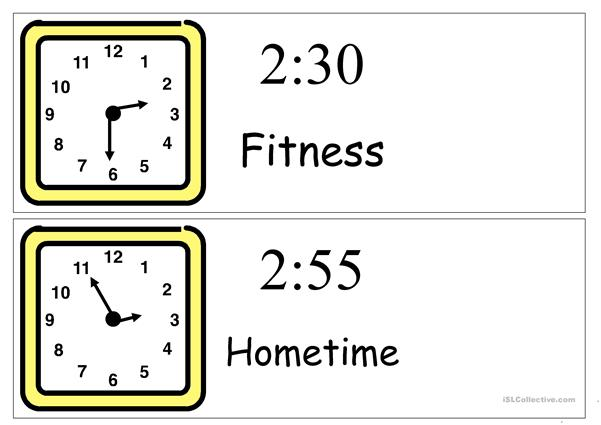 visual timetable clocks for school day