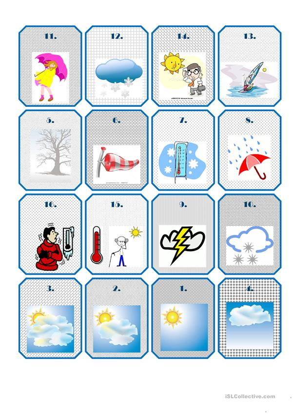 WEATHER FLASHCARDS - NO CAPTIONS