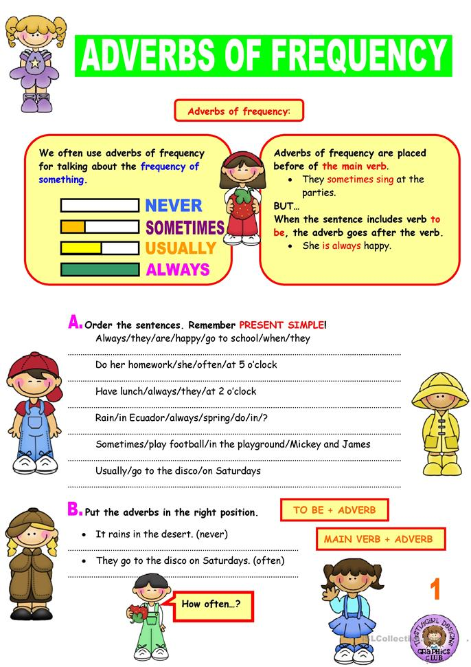 91 FREE ESL adverbs of frequency worksheets