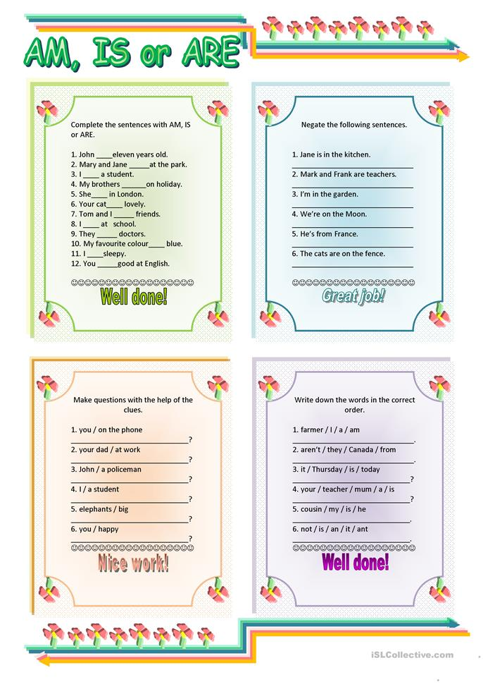 AM - IS - ARE - ESL worksheets