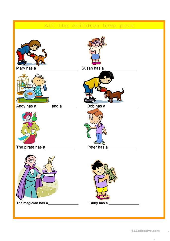 Animals - All the children have pets - ESL worksheets
