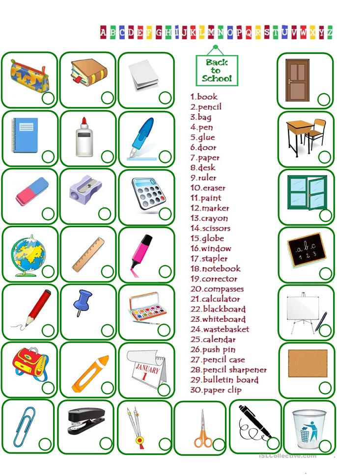 Classroom Objects - ESL worksheets