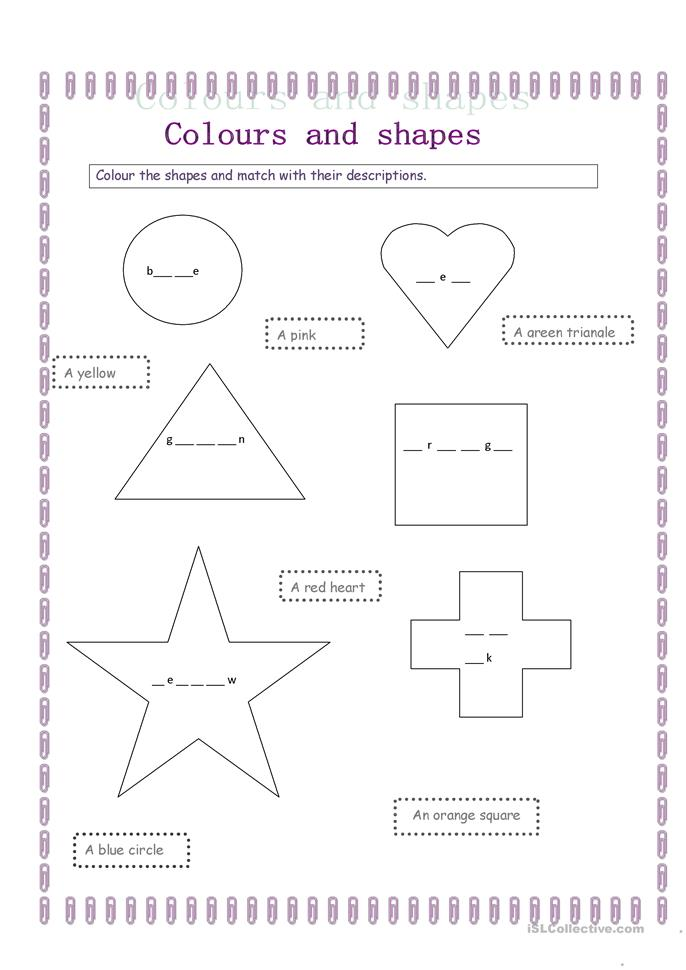 colours and shapes - ESL worksheets