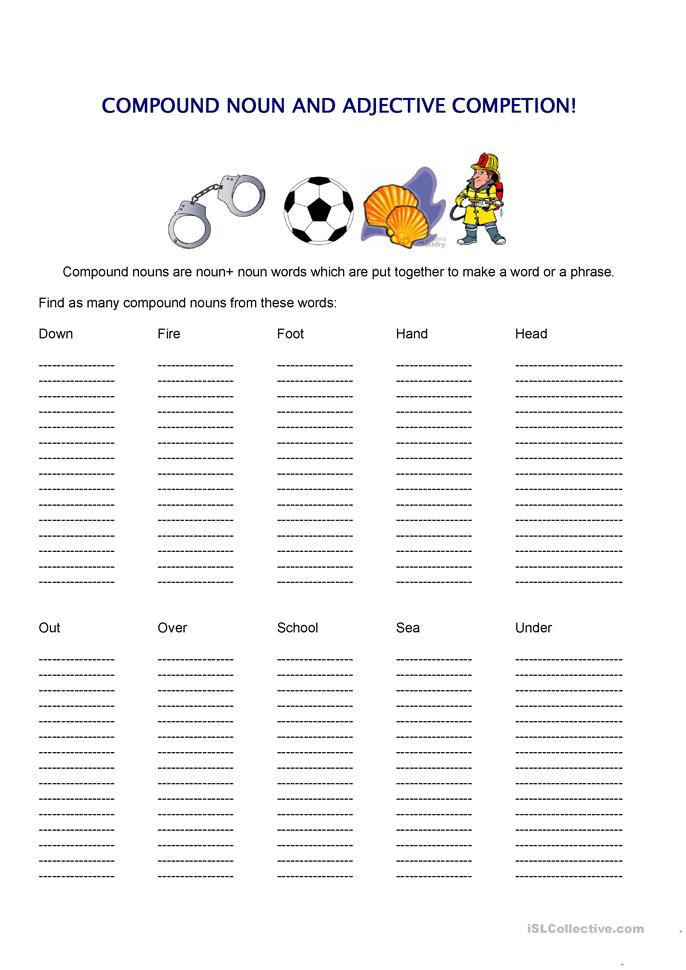 Printables Compound Nouns Worksheet 17 free esl compound nouns worksheets and adjectives