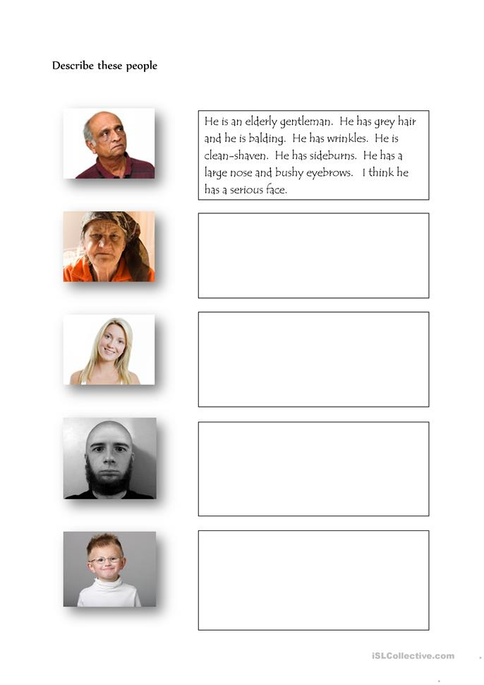 Describe these people - ESL worksheets