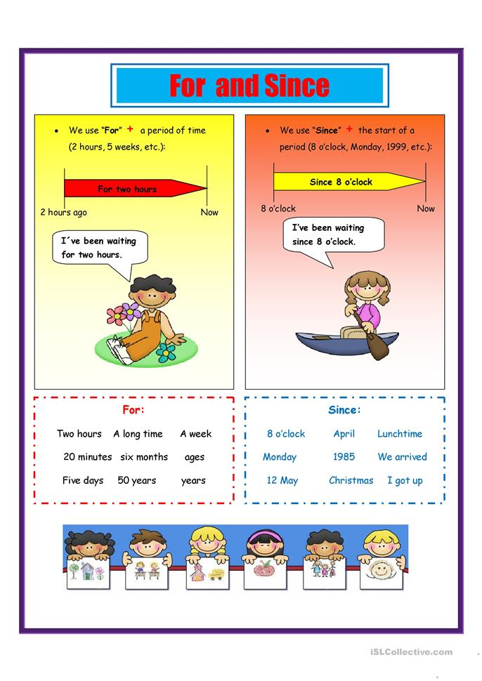 For and Since - ESL worksheets