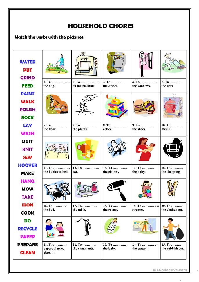 Household chores - ESL worksheets