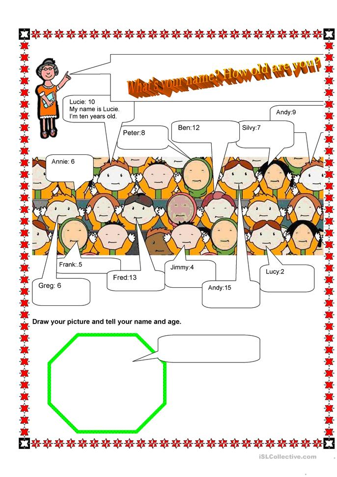 Presentation - What's your name, how old are you? - ESL worksheets
