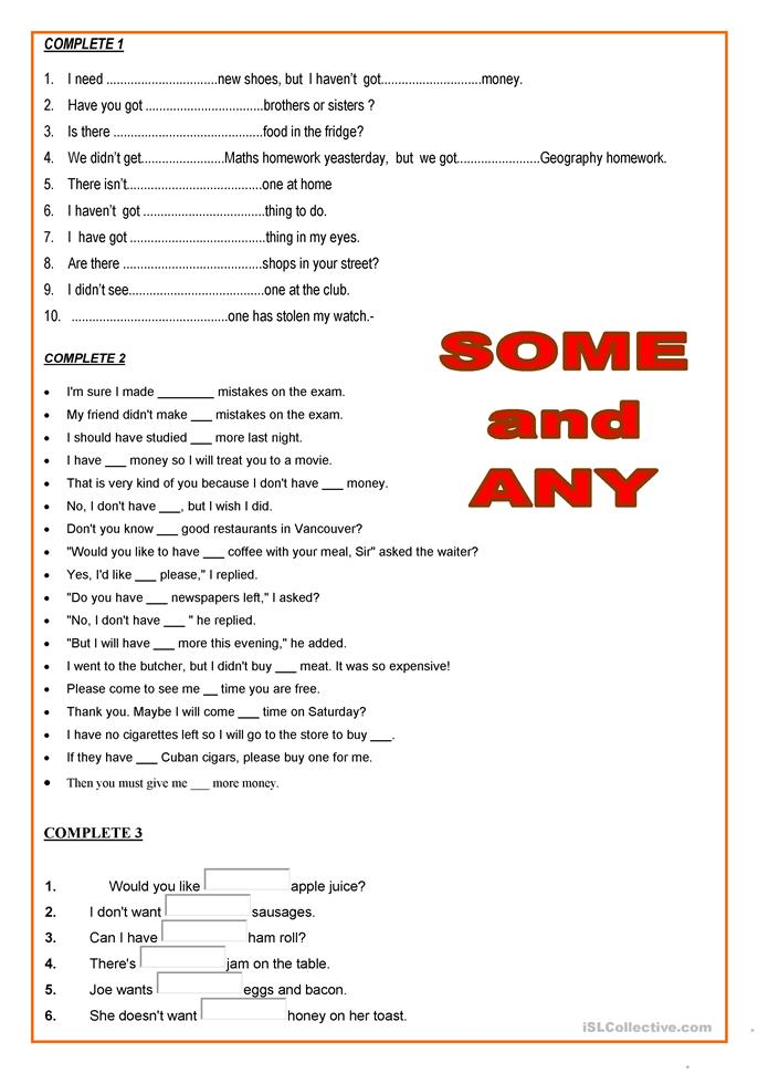 19 FREE ESL SOME AND ANY worksheets