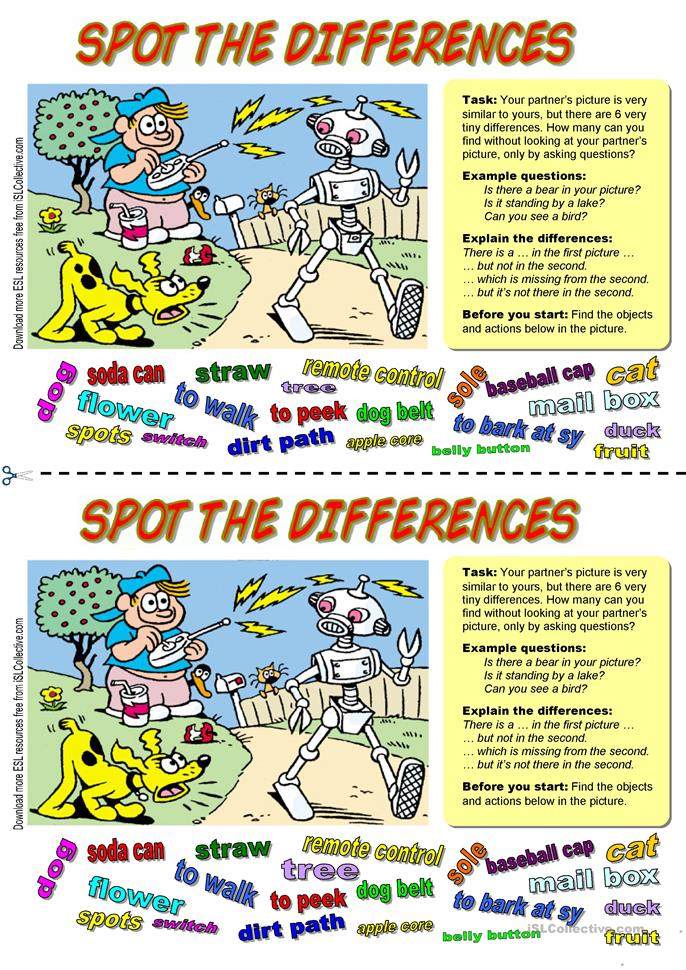 34 FREE ESL spot the difference worksheets