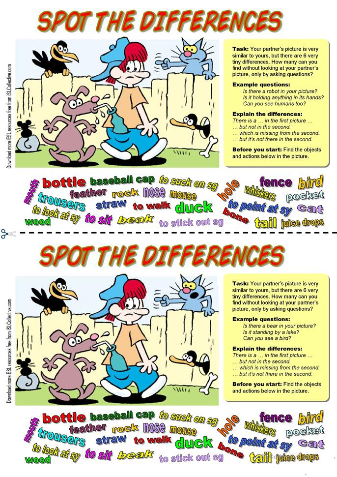 31 FREE ESL spot the difference worksheets