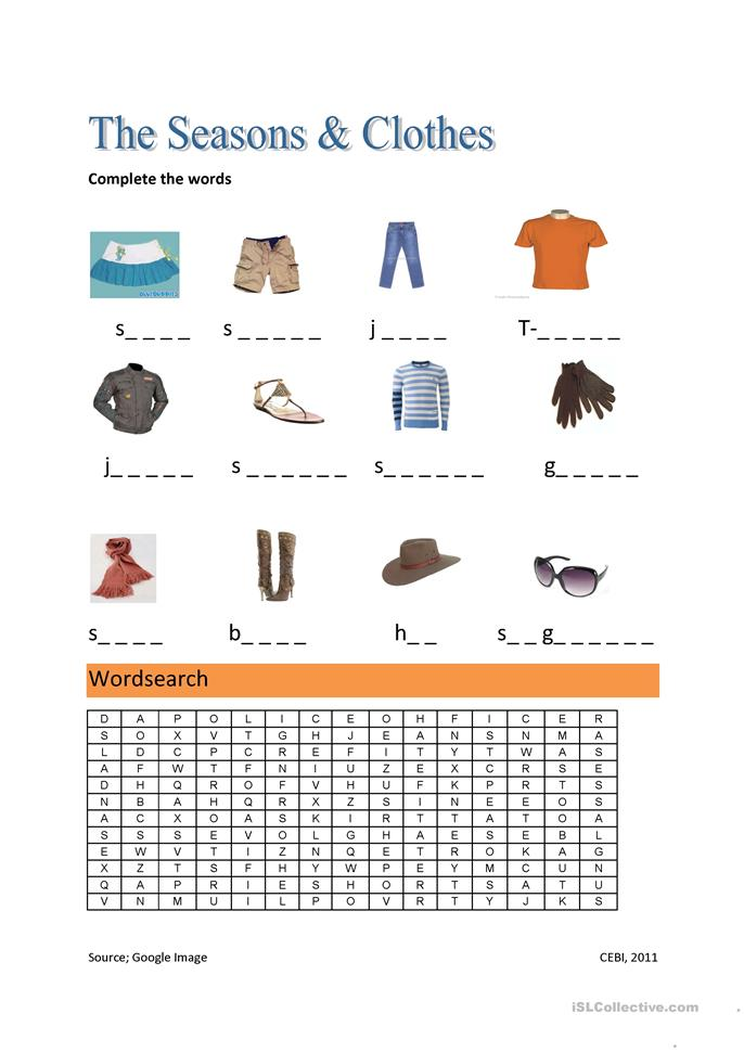the seasons and clothes worksheet free esl printable worksheets made by teachers. Black Bedroom Furniture Sets. Home Design Ideas