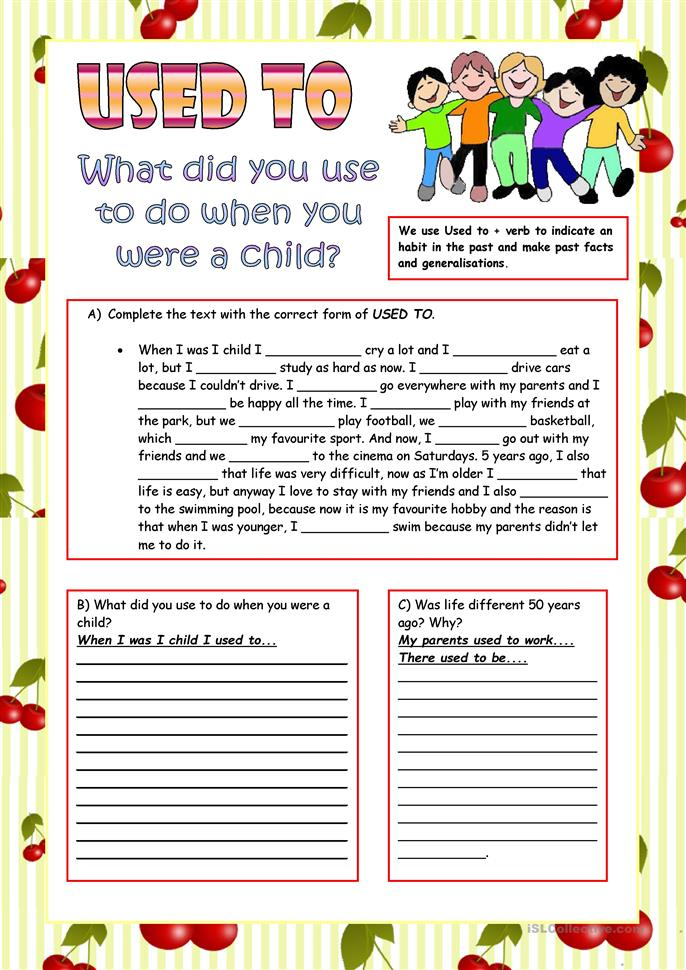 Used to. (Review for trinity college, grade 7) worksheet - Free ESL ...