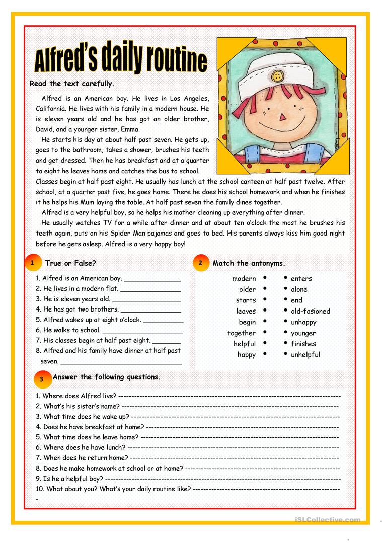 Uncategorized Esl Reading Comprehension Worksheets 6158 free esl reading comprehension exercises worksheets alfreds daily routine routine