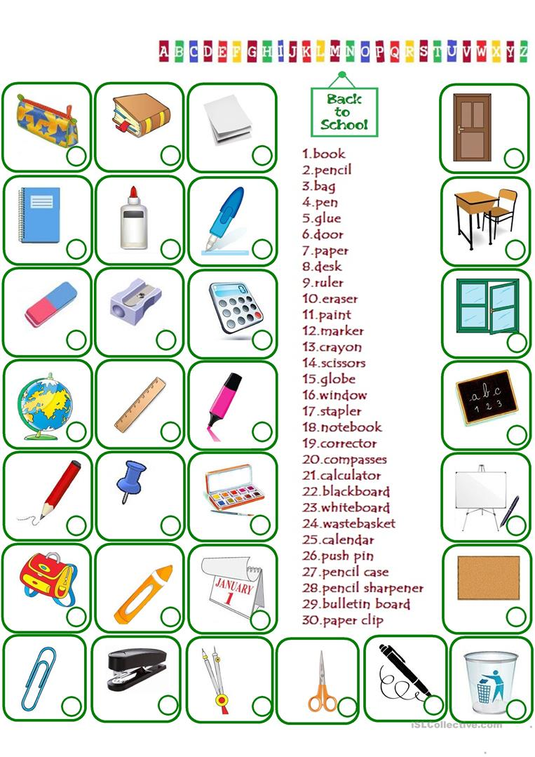 135 FREE ESL school objects worksheets