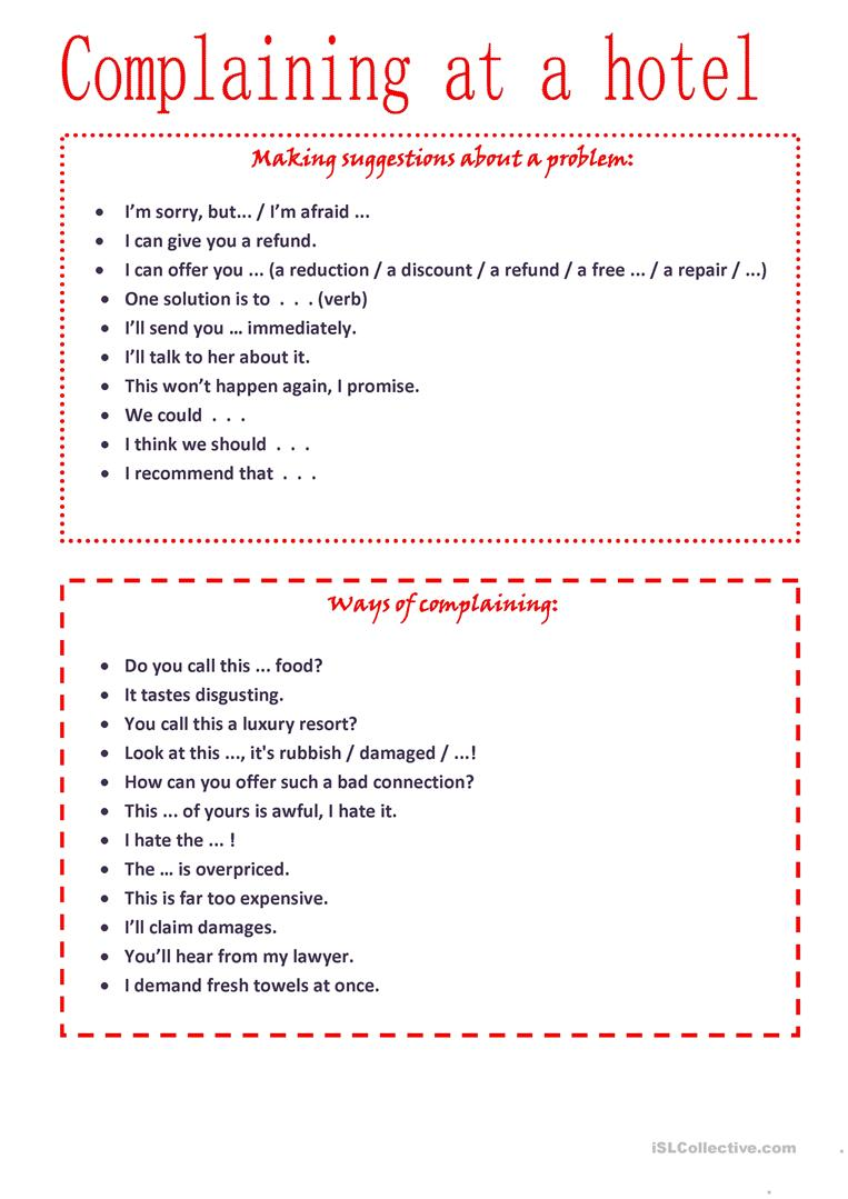 Complaining at a hotel- Role play worksheet - Free ESL printable