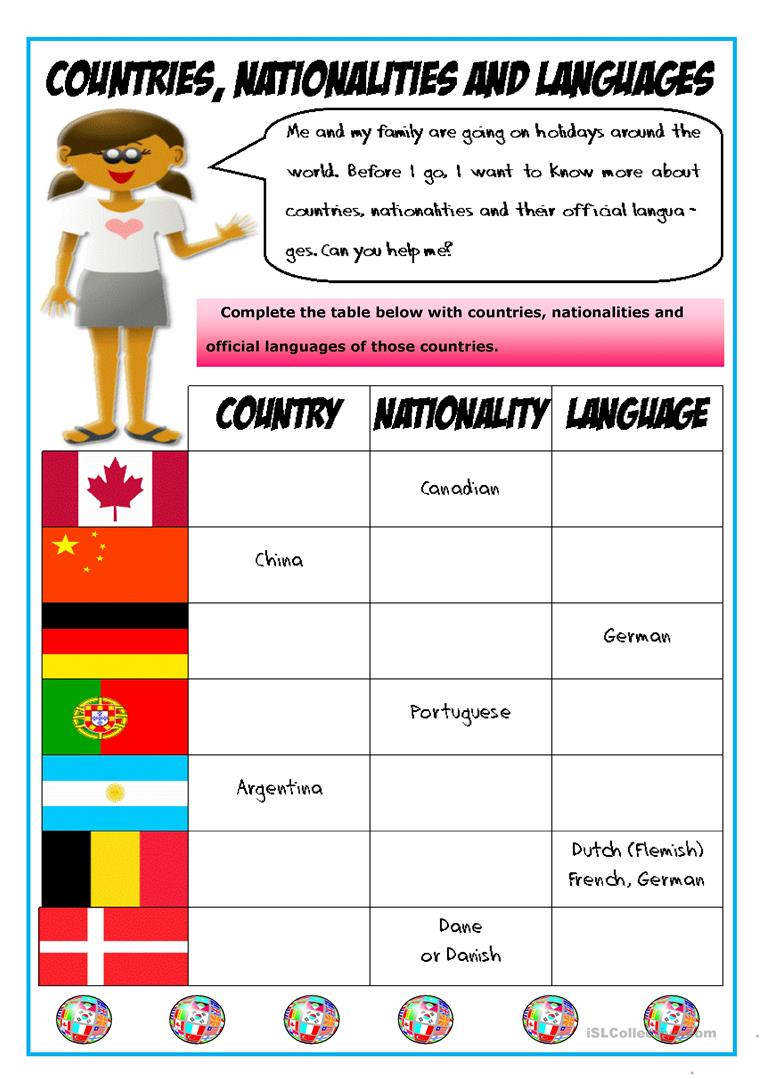 Countries, nationalities and languages   English ESL Worksheets ...