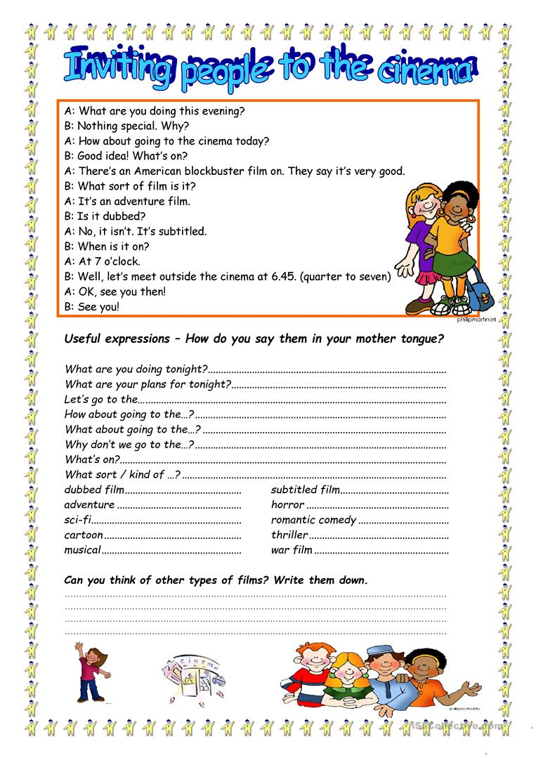 33 free esl invitation worksheets lets go to the cinema stopboris Choice Image