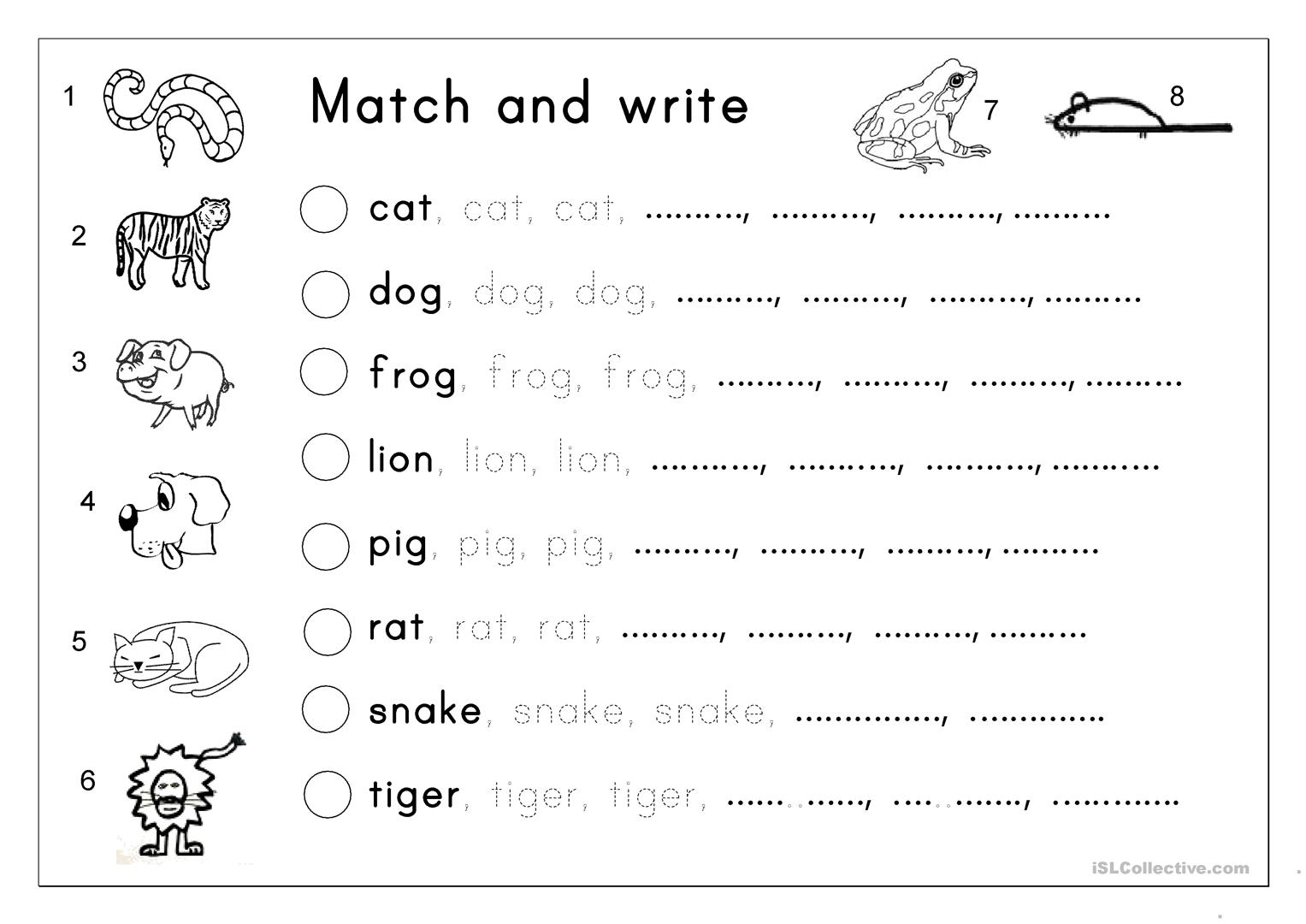 matching letter tracing writing animals worksheet free esl printable worksheets made by. Black Bedroom Furniture Sets. Home Design Ideas