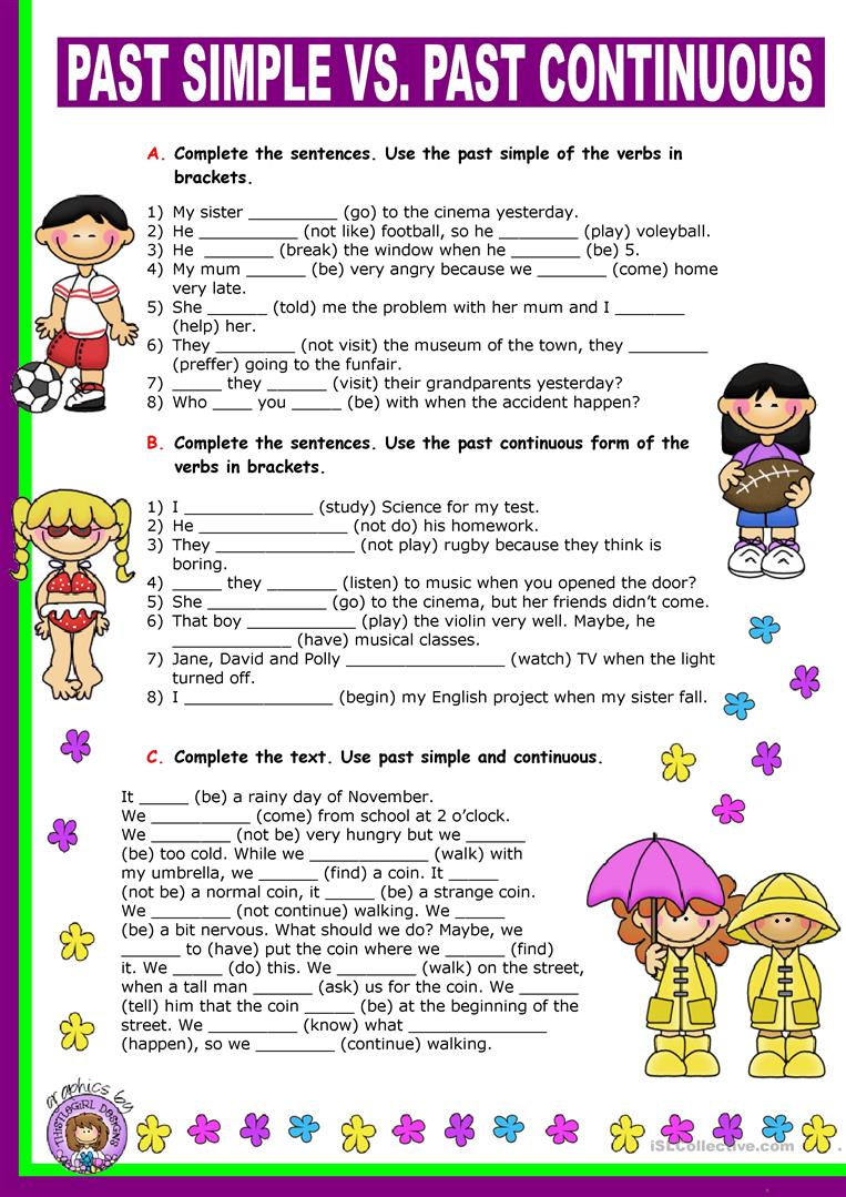 English ESL past continuous worksheets - Most downloaded