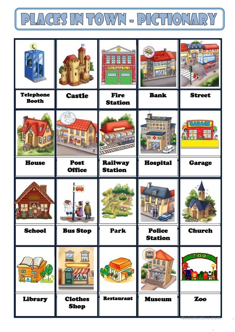 places in town worksheet free esl printable worksheets made by teachers. Black Bedroom Furniture Sets. Home Design Ideas