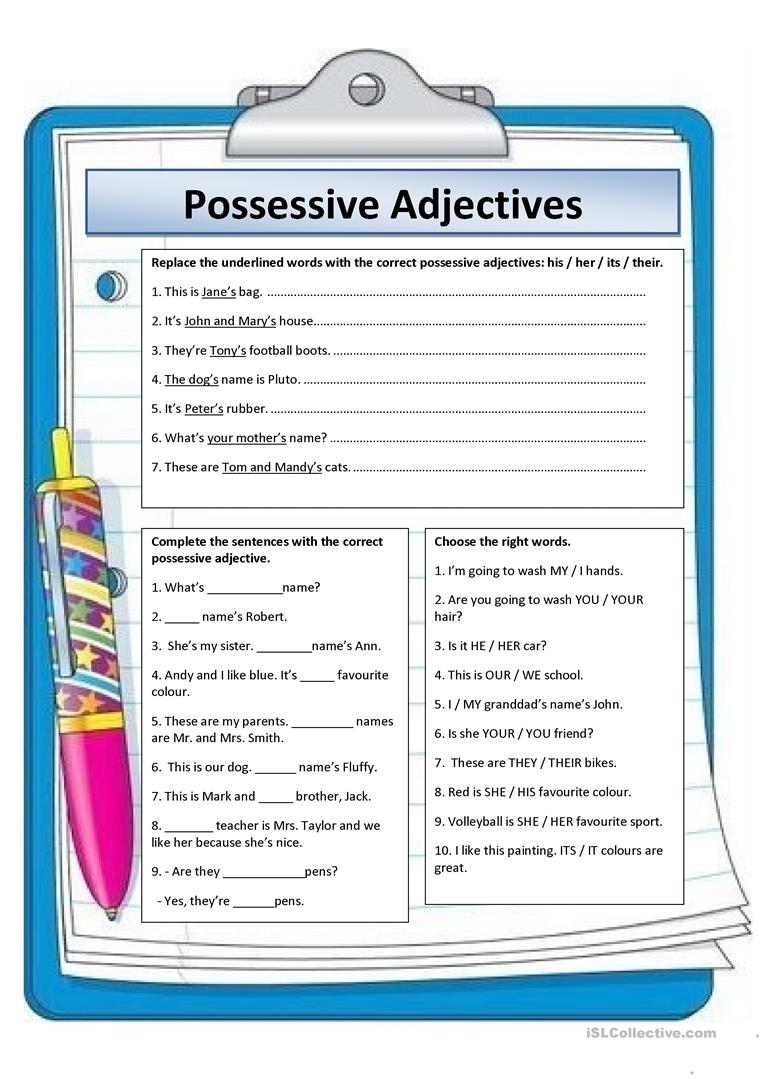 POSSESSIVE ADJECTIVES worksheet Free ESL printable worksheets – Adjective Worksheet for Kindergarten