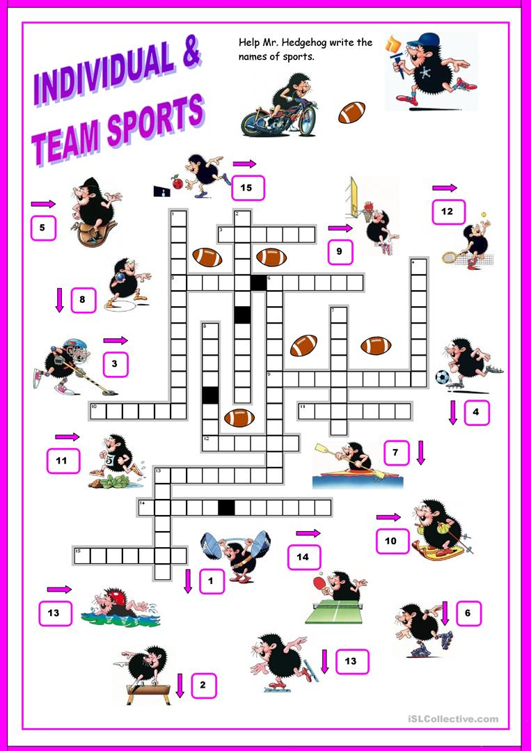 sports crossword worksheet free esl printable worksheets made by teachers. Black Bedroom Furniture Sets. Home Design Ideas