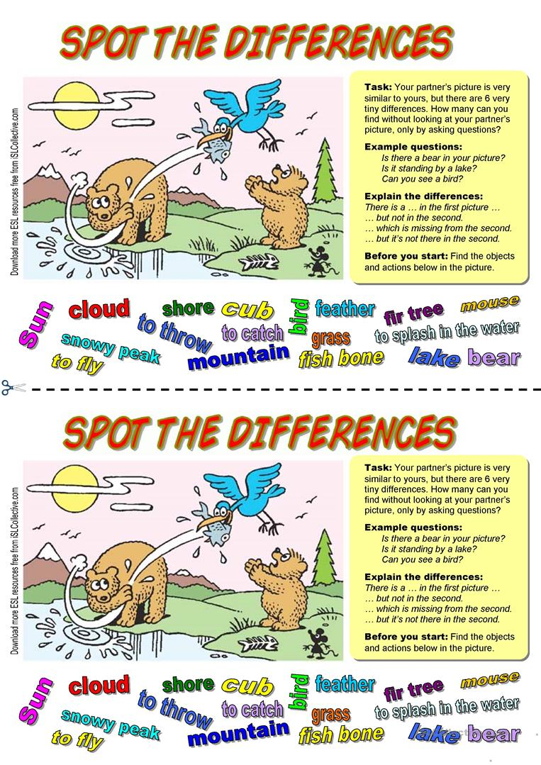 38 Free Esl Spot The Difference Worksheets