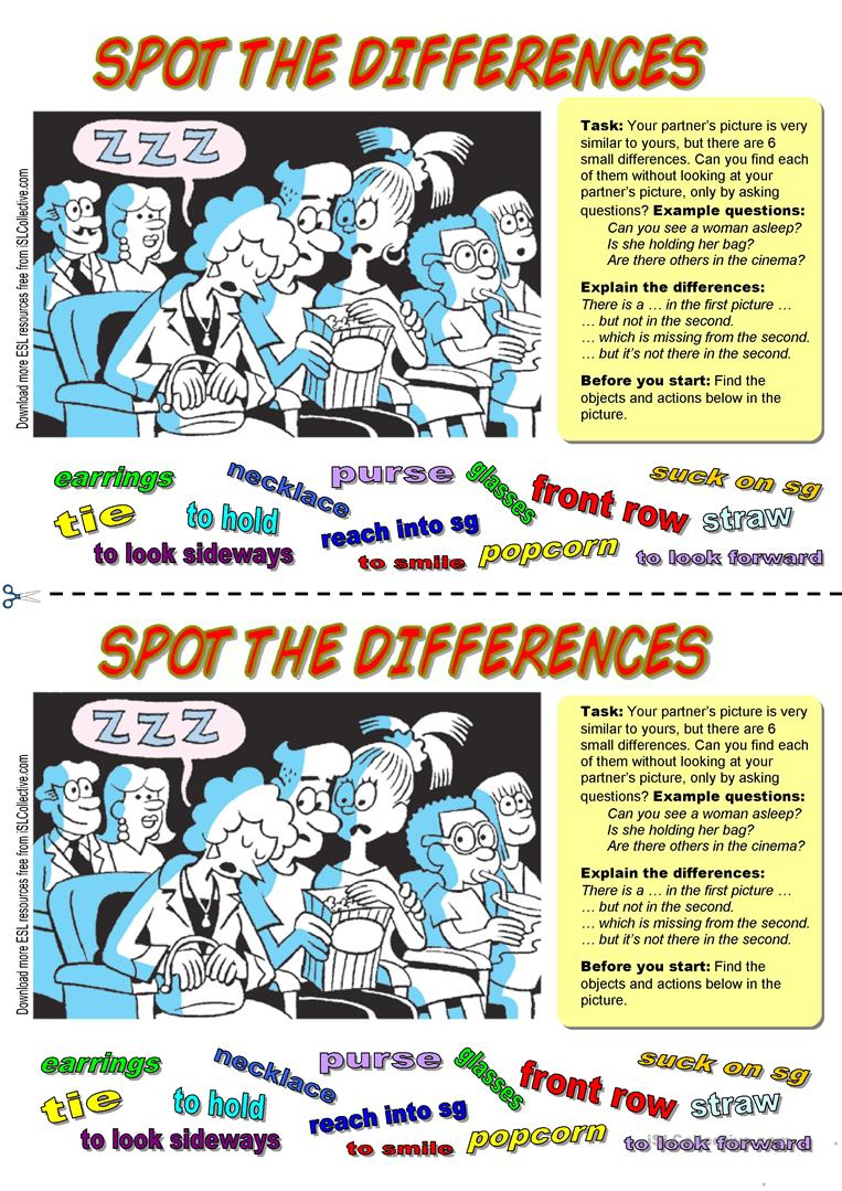 36 FREE ESL spot the difference worksheets – Spot the Difference Worksheets