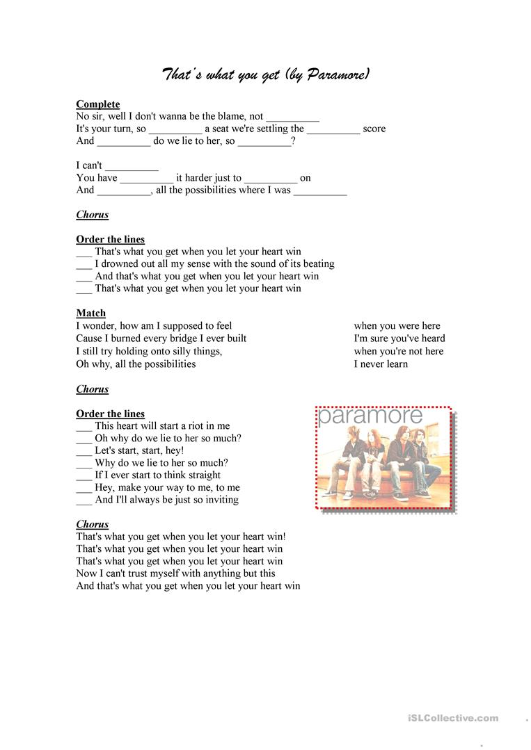 That's what you get by Paramore - English ESL Worksheets