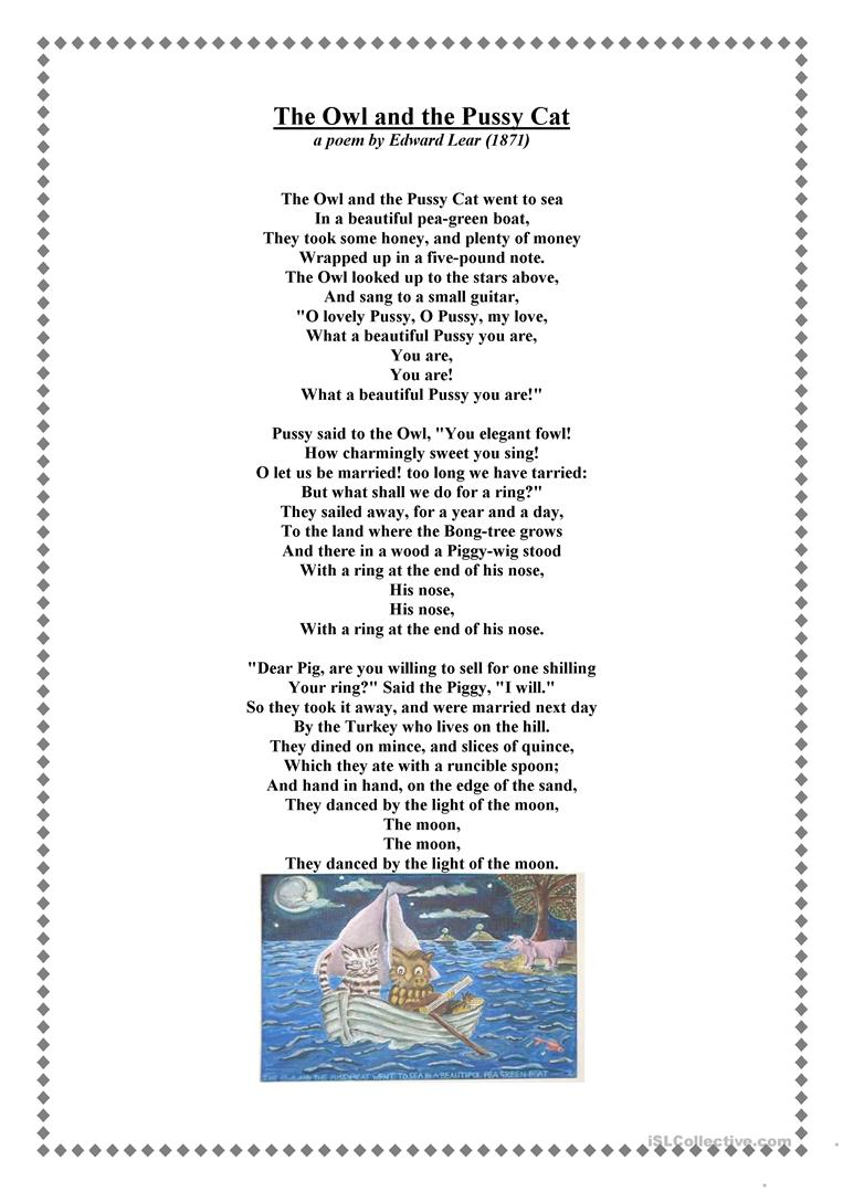 the owl and the pussycat worksheet free esl printable worksheets