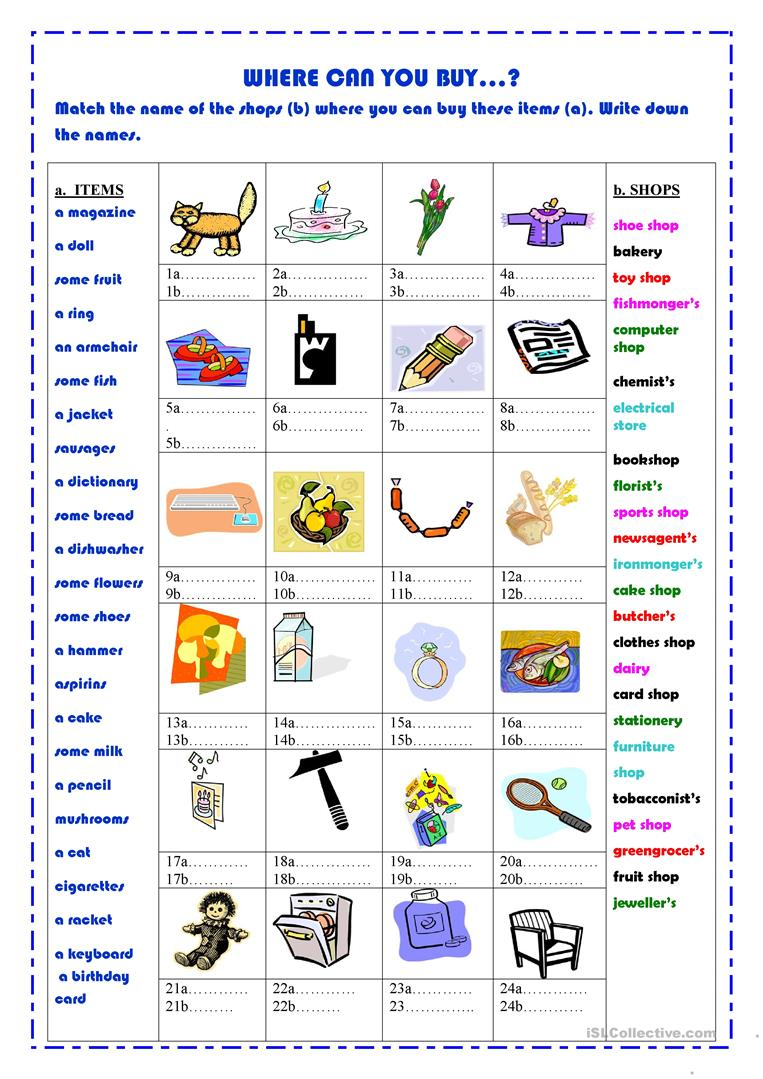 Where Can You Buy...? Worksheet